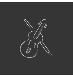 Violin with bow drawn in chalk icon vector