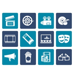 Flat Movie theatre and cinema icons vector image