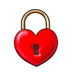 Traditional red heart shaped padlock for love lock vector