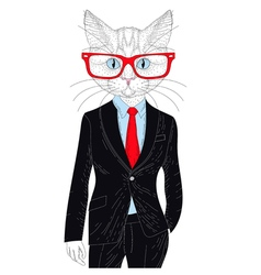 Cute cat boy in elegant suit with glasses hand vector