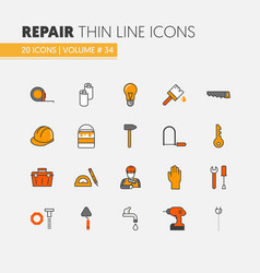 House repair renovation linear thin line icons vector