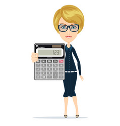 Woman holding an electronic calculator vector