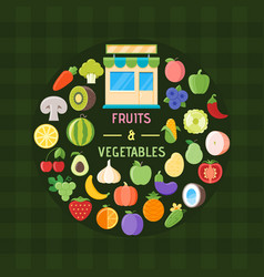 Fruits and vegetables banner vector