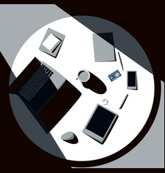 Top view of office table with laptop tablet vector