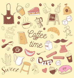 coffee time hand drawn doodle coffe beans vector image