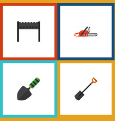 Flat icon garden set of spade hacksaw trowel and vector