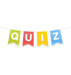 Quiz word on pennants on rope vector