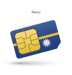 Nauru mobile phone sim card with flag vector