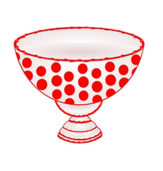 Bowl of fruit with red dots ceramic tableware vector