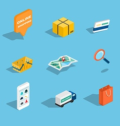 Set of sale and shopping flat 3d isometric icons vector
