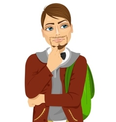 Student with backpack thinking about something vector