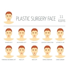 Set of plastic surgery face icons flat design vector