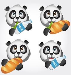 Icon set with panda vector