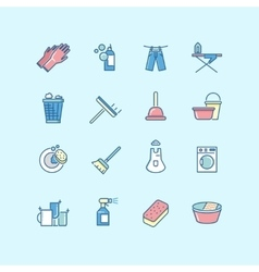Washing cleaning laundry line color icons vector