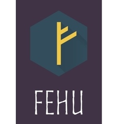 Fehu rune of elder futhark in trend flat style vector