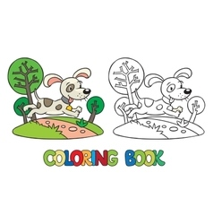 Coloring book of little dog or puppy vector