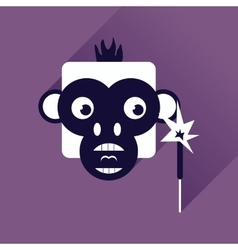 Flat web icon with long shadow monkey vector