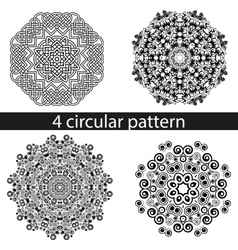 Set of four decorative curls pattern mandala vector