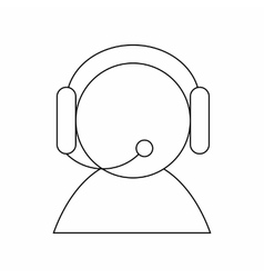 Operator with headset icon thin line style vector