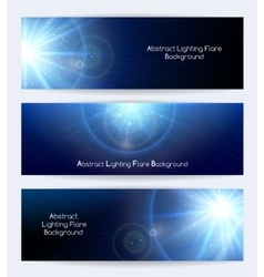 Abstract lighting flare banners vector