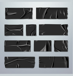 Adhesive or masking tape set black rubber vector