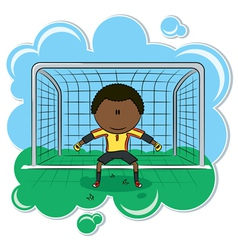 African-American soccer goalkeeper vector image