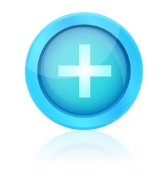 Blue plus icon with reflection vector image