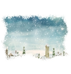 Christmas landscape with christmas tree eps 10 vector