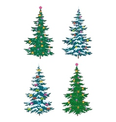 Christmas tree with decoration vector image vector image
