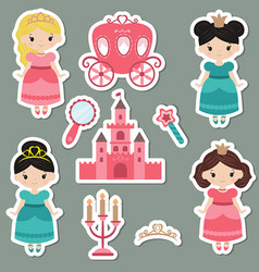 collection of cute princess stickers collection vector image vector image