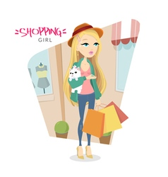 Cute young blonde girl with dog who goes shopping vector image vector image