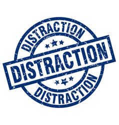 Distraction blue round grunge stamp vector