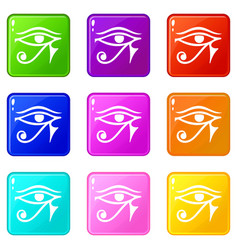Eye of horus egypt deity icons 9 set vector