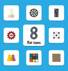 Flat icon play set of poker chess table people vector