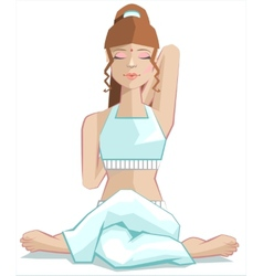 Girl sitting in yoga pose gomukhasana cows head vector