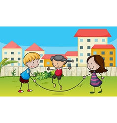 Kids playing rope vector image
