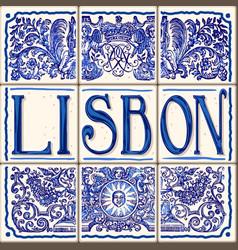 Lisbon ceramic lisboa ceramic fridge magnet vector