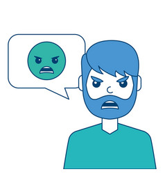 man with angry emoticon in speech bubble vector image