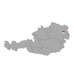 Map of Austria with flag of Vienna vector image vector image