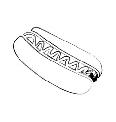 Monochrome blurred contour of hot dog with sauce vector