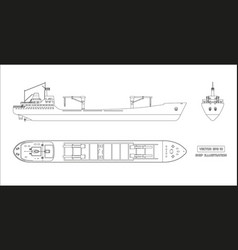Outline drawing of cargo ship on white background vector