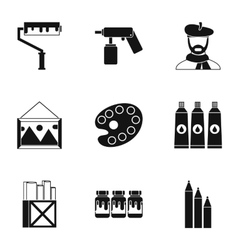 Paint drawing icons set simple style vector