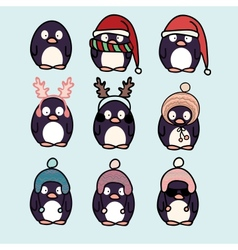 Penguins cartoon set vector image