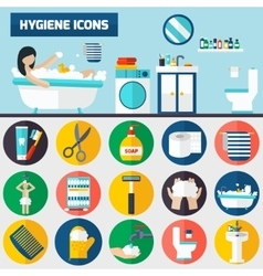 Personal hygiene flat icons composition banners vector