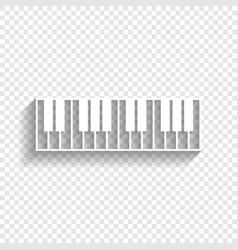 Piano keyboard sign white icon with soft vector