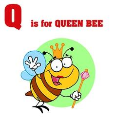 Queen Bee cartoon with letter vector image vector image