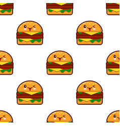 seamless pattern with kawaii burger on white vector image vector image