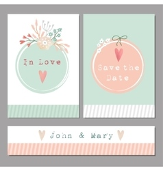 Set of floral romantic weddingbaby shower vector