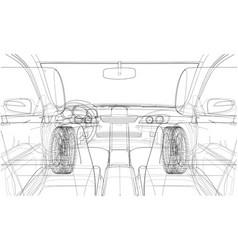 Sketch of car interior rendering of 3d vector
