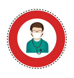 Sticker circular border with silhouette male nurse vector
